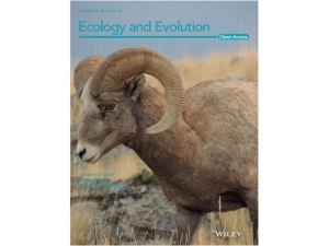 Ecology and Evolution cover featuring a bighorn sheep