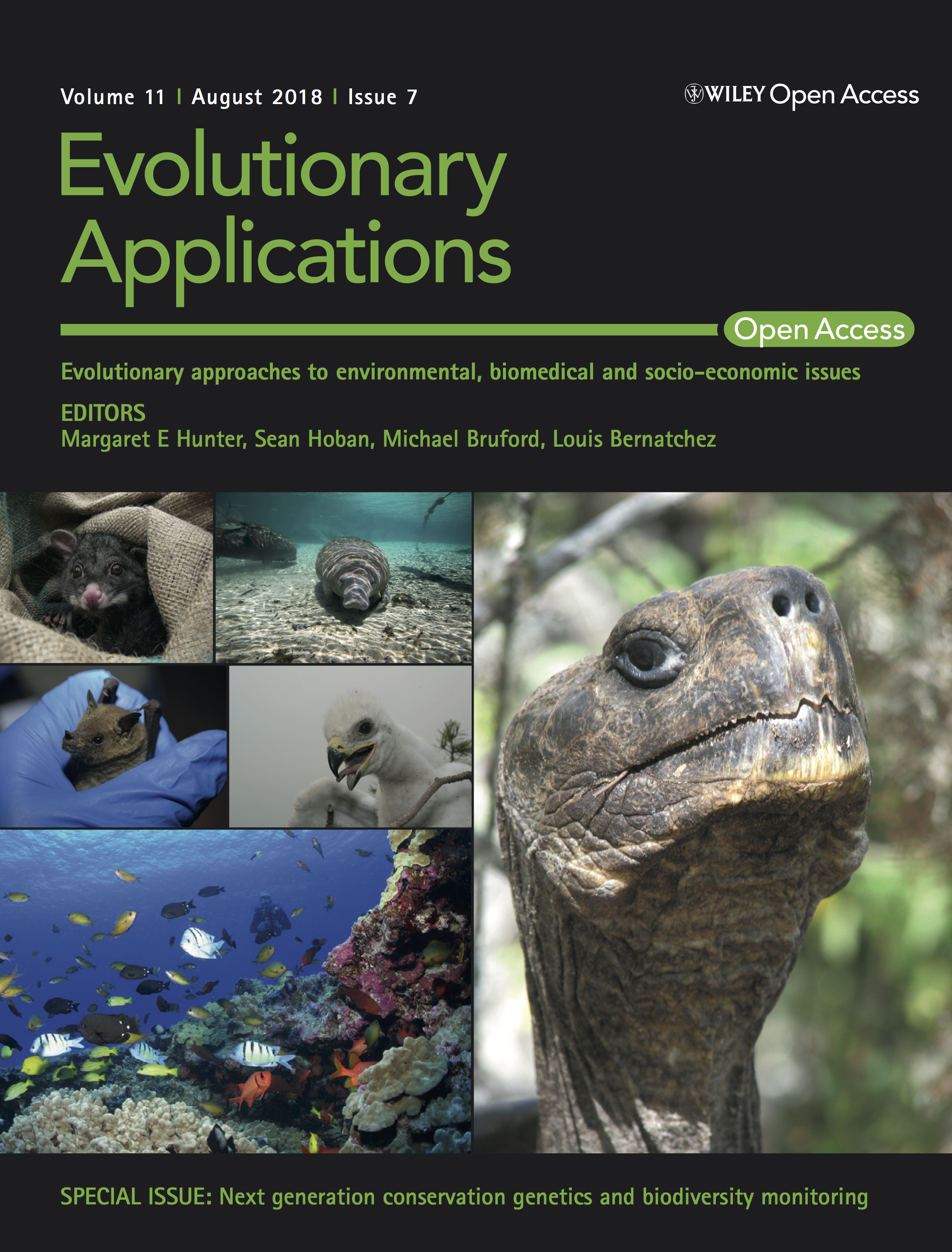 Evolutionary Applications cover featuring a collage of pictures including a Galapagos tortoise